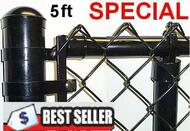 "5 Ft Black & Green Coated Fence Kit includes 2""x 9 Ga. Mesh, 1-3/8"" Top Rail, 1-5/8"" Line Posts (1 per 10ft spacing) and Hardware, ENTER TOTAL LINEAR FEET IN QTY. Price / ft. Corner, End, Gate Posts and gates not included."