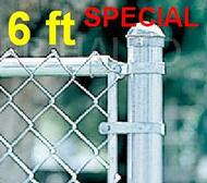 "6 ft Galvanized Residential System Complete Package. The price per ft. Includes: All Line Posts (1-5/8"") with hardware every 10 feet, All Top Rail (1-3/8""), All Mesh (2-1/4"" x 11-1/2 gauge)"