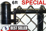 """6 Ft tall Black & Green Coated Fence Kit, 2""""x 9 Ga. Mesh, 1-3/8"""" Top Rail  Hvy .065 Ga, 1-5/8"""" x 8ft  x Hvy .065 Ga Line Posts spaced at 10 ft, all Hardware parts, put total feet in Qty, Price is $/ ft. Corner, End, Gate Posts and gates not included."""