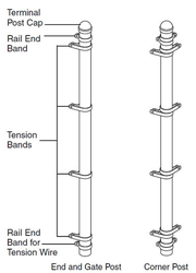 """8 ft Gate Post 2-1/2"""" with Hardware"""