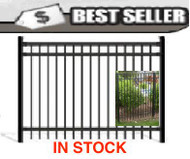 Aluminum Fence - Pre-assembled, Stock Quick-Ship, Flat Top Black 5 ft x 6 ft wide Pool Fence. Posts not included
