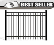 Aluminum Fence - Pre-assembled, Flat Top Black 5 ft x 6 ft wide Pool Fence