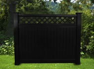 BLACK VINYL PRIVACY LATTICE TOP FENCE 6 FT X 6 FT Posts not included.
