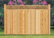 Litchfield Cedar Fence Good Neighbor, - Square Lattice, 6 ft x 8 ft , Pre-Built both sides finished same.