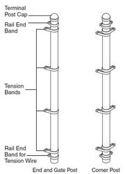 "Corner Post Galvanized 2-1/2"" x 9 ft with Hardware"