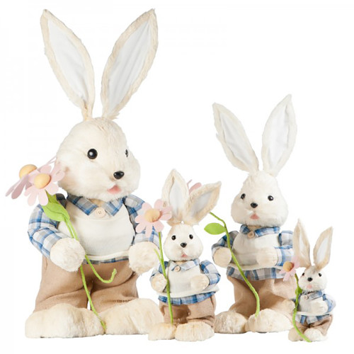 Easter Rabbit with Flower Figurines