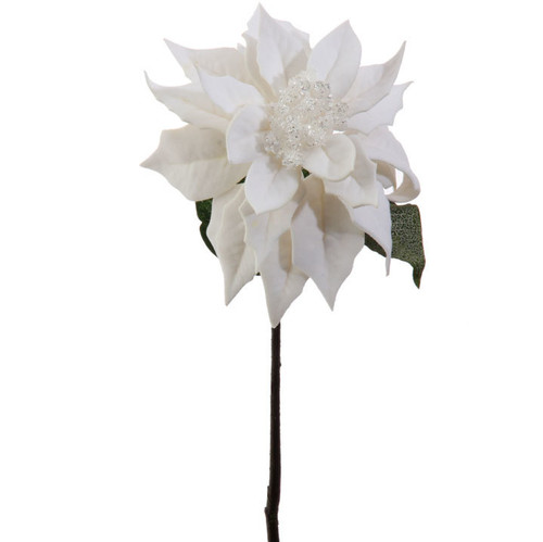 Ivory White Poinsettia with Jewelled Centre