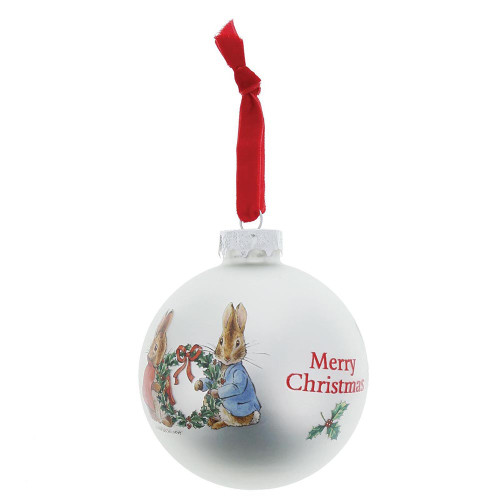 Beatrix Potter Peter Rabbit & Flopsy Holding Wreath Glass Bauble
