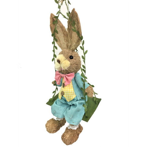 Male Bristle Straw Bunny on Swing - 35cm