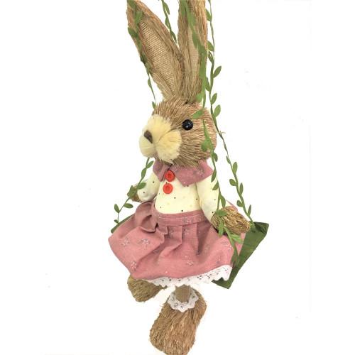 Female Bristle Straw Bunny on Swing - 35cm