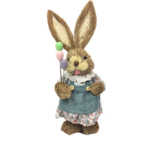 Female Bristle Straw Bunny with Balloons - 35cm