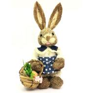 Female Bristle Straw Bunny with Basket - 35cm