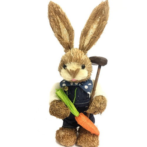 Male Bristle Straw Blue Bunny with Garden Hoe - 35cm