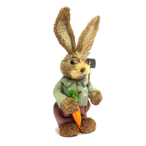 Male Bristle Straw Bunny with Garden Hoe - 35cm