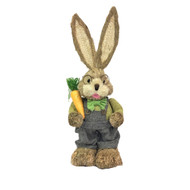 Male Bristle Straw Bunny with Overalls & Carrot - 45cm