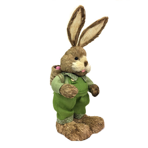 Male Bristle Straw Bunny with Backpack Basket - 65cm