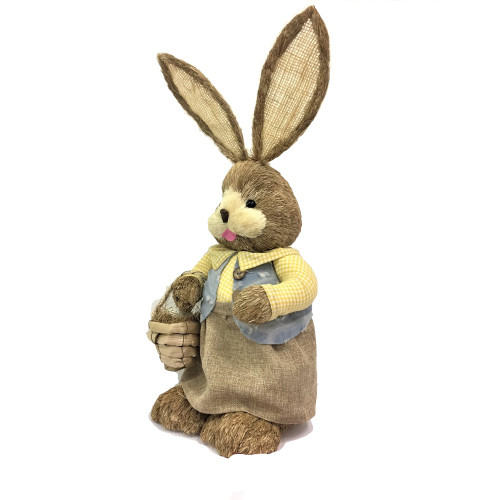 Female Bristle Straw Bunny with Basket - 65cm