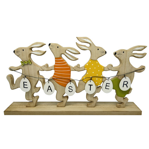 Easter Wooden Rabbit Dancing Decoration