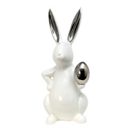 White & Silver Bunny Rabbit with Egg