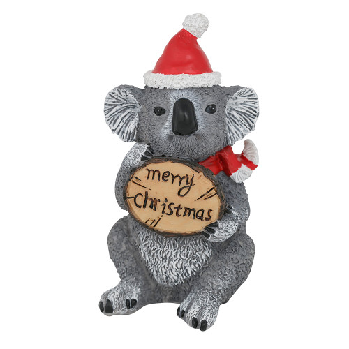 Koala Christmas Figurine with Merry Christmas Sign