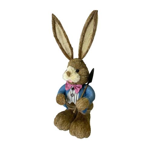 Bristlestraw Rabbit Easter Bunny With Blue Spade