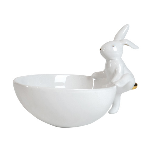 Simms Ceramic Cream Gold Rabbit Egg Bowl