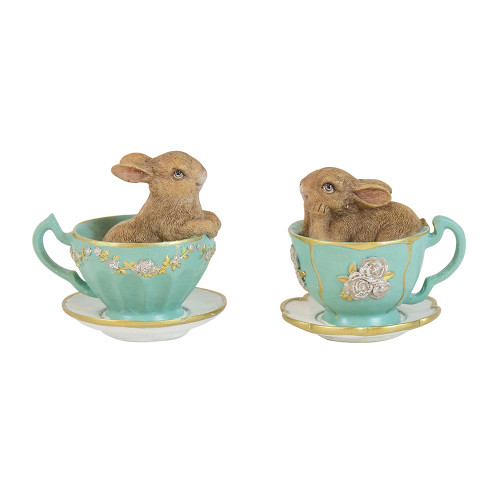 Potter Bunnys In Green Teacup (2 Designs)