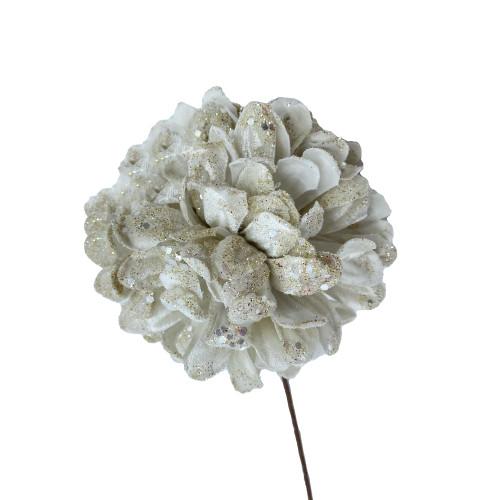 Ivory Glittered Chrysanthemum