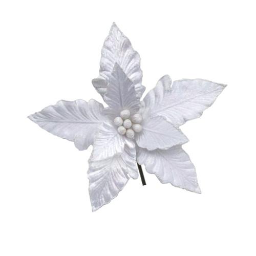 Poinsettia White With Clip