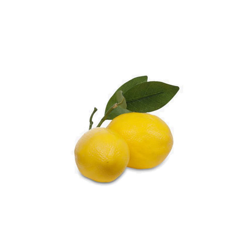 Yellow Lemon Fruit Cluster With Leaf