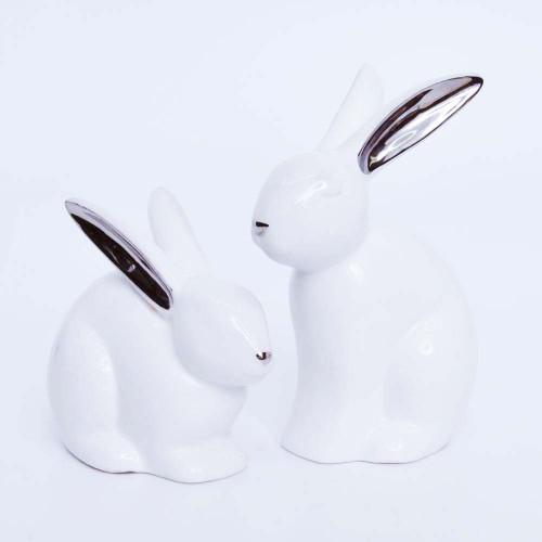 Ceramic White Cuddling Bunnies