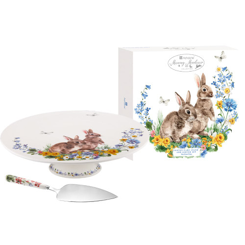 Morning Meadows Footed Cake Stand And Server Set