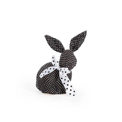 Black Sitting Polka Dot Rabbit With White Bow