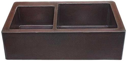 Farmhouse kitchen sink 40/60 in hammered copper