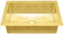 "Brass Kitchen (KDI-W1-BRASS) Sinks-Single Bowls-11 sizes (33"" Base Price)"