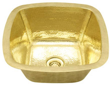 Bar Sink (SBV15-BRASS) Square Contoured Brass Bar Prep Sink