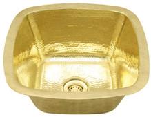 Bar Sink (SBV15-BRASS) Square Contoured Brass Bar Prep Sink