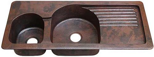 Custom copper kitchen sink with drainboard