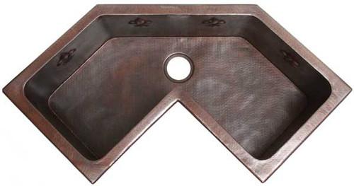 Custom Corner copper kitchen sink
