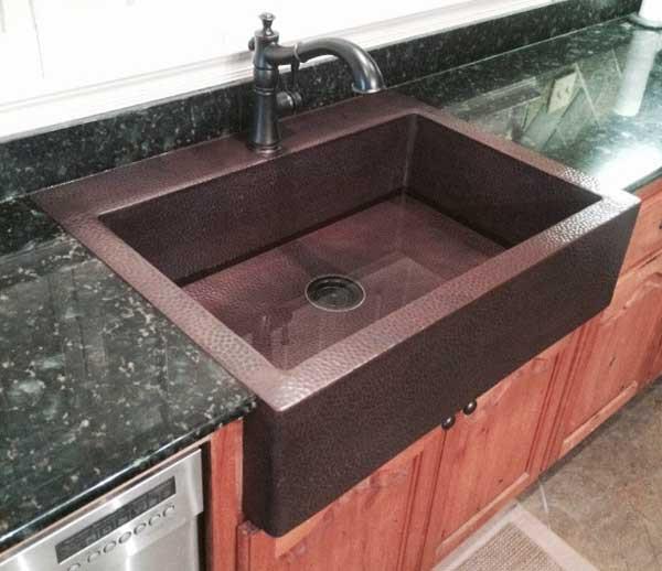 FHA - Custom Copper Farmhouse Sink Kitchen top mount sink ...