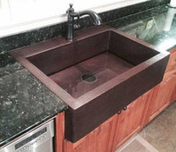 Copper Farmhouse Kitchen Sink for top counter mount.