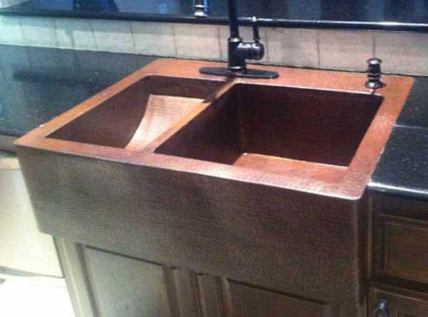 FHA- Custom Copper Farmhouse Sink Kitchen top mount Double ...