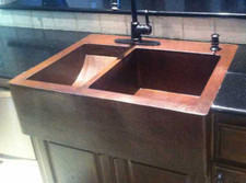 Custom copper double sink