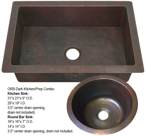 Kitchen Copper Sink/Round Copper Bar Sink Combo-ORB Dark (KDI-RBV-COMBO-DK)