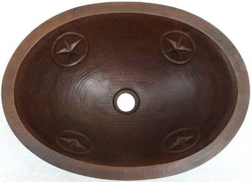 Texas star design copper oval bath sink