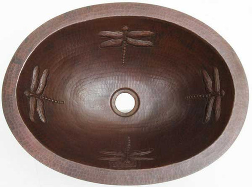 Oval copper sink with Dragonfly design