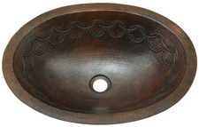 Copper oval sink with joining rings design