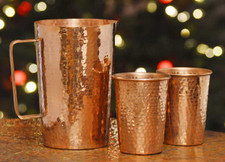 Copper Pitcher with set of Copper Drinking Cups