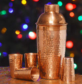 Hammered Copper Shaker/Shot Glass Set-Shiny Copper Bar Set