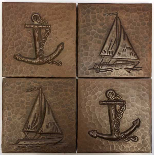 Set of 4 4x4 hammered copper tile. 2 sailboats/2 anchors